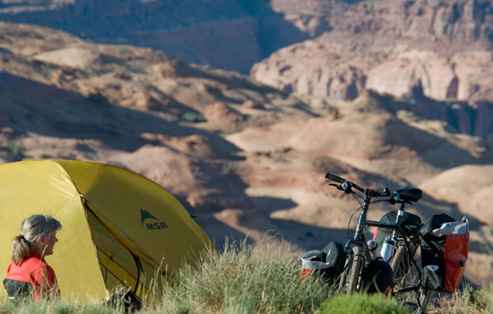 Bicycle traveler, camping in Utah