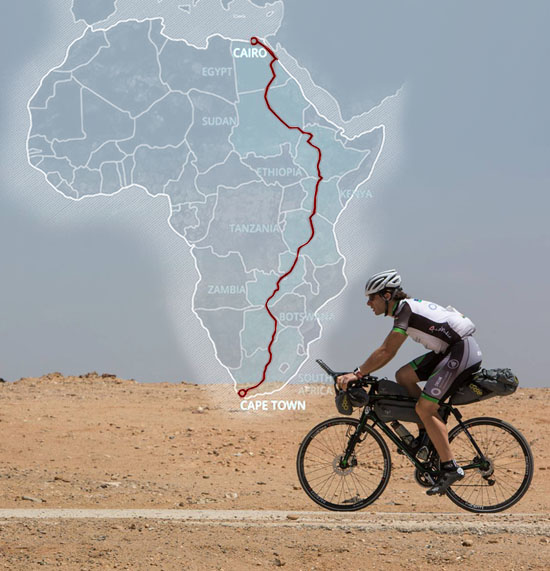Mark Beaumont in recordtempo van Cairo naar Kaapstad